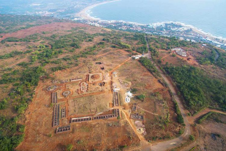 Top view of Thotlakonda Buddhsit site with the sea and surrounding land visible