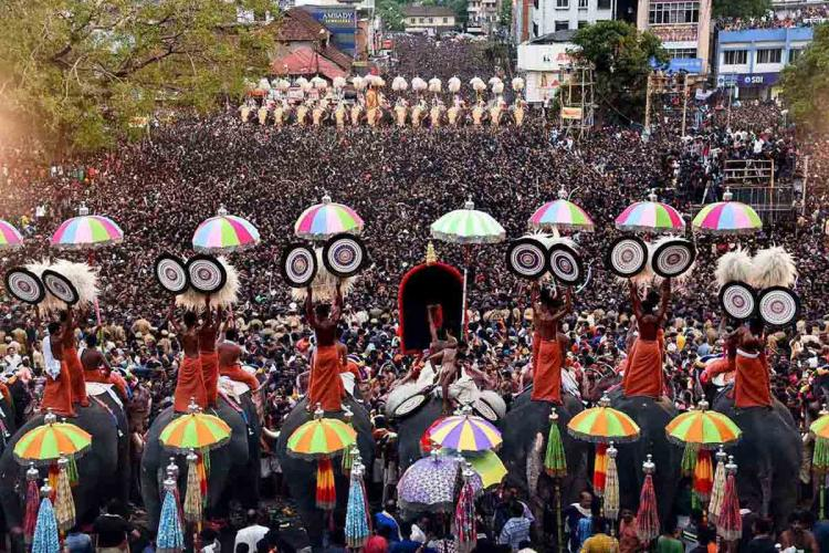Caparisoned elephants paraded at Thrissur Pooram with umbrella