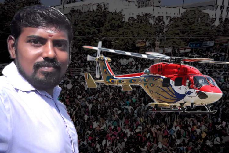 South Madurai candidate Thulam Saravanan with a helicopter and a crowd in the background