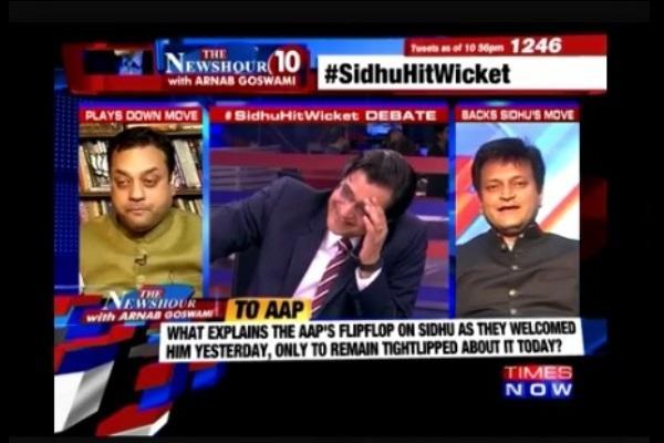 Watch Arnab Goswami ROFL as Sambit Patra mimics Sidhus hilarious joke on Kejriwal