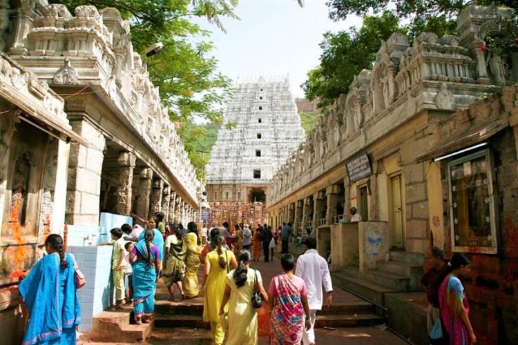 Devotees walking towards the Tirumala temple