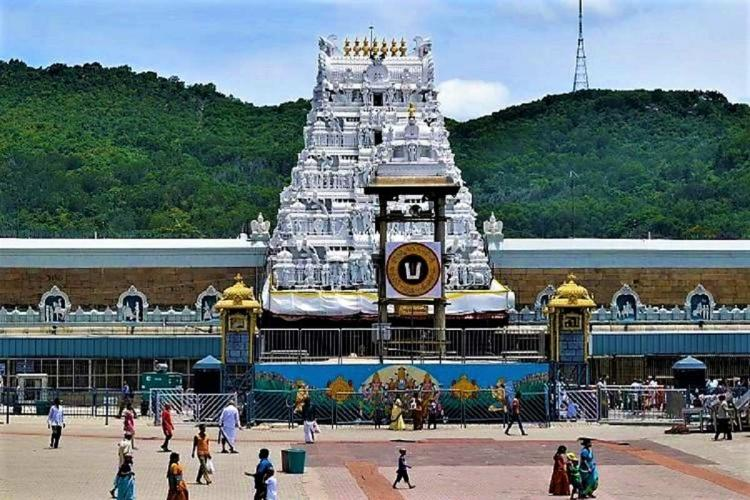Scattered crowd in front of the Tirumala temple