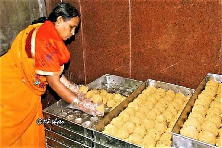 The famed laddu prasadam being sorted at the Sri Venkateswara temple in Tirumala