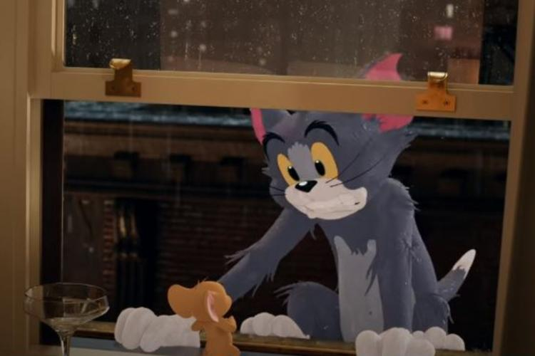 Tom holding on to a window sill while Jerry watches with his back to the camera, with a wine glass next to him