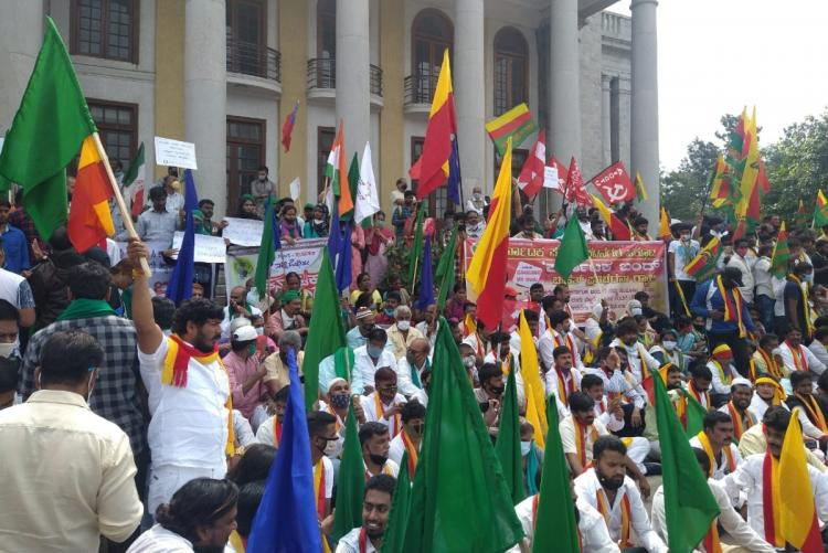 Farmer Dalit groups and Labour unions stage protest in Bengaluru