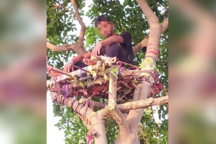 Ramavath Shiva a college student from Telangana who isolated himself on a tree