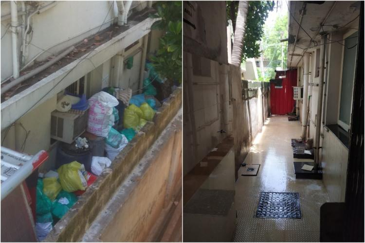 before and after images from a private hospital in trichy accused of dumping medical waste in residential area