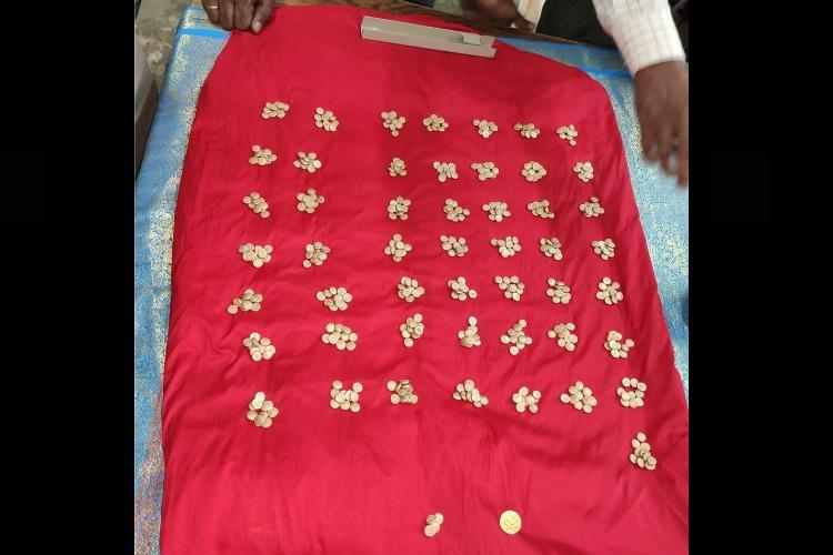 505 gold coins discovered behind Trichy temple sent to district treasury