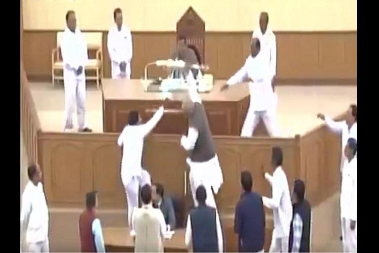 Another low TMC MLA climbs up speakers podium snatches ceremonial mace in Tripura Assembly