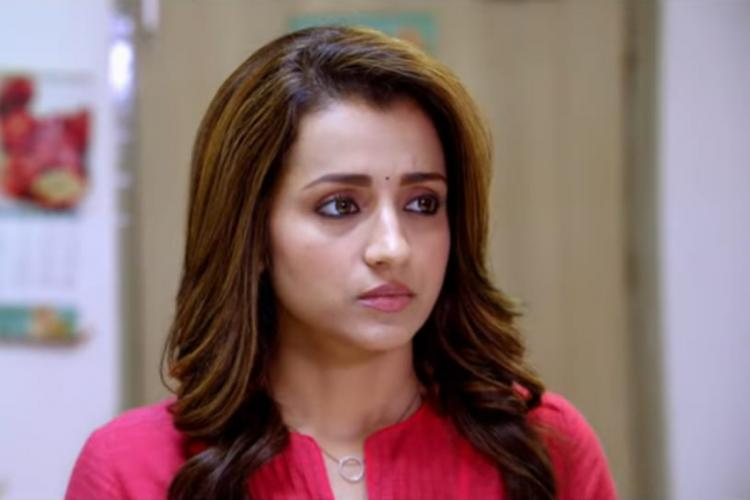 Trisha is seen wearing a pink kurta and is essaying the role of a doctor in the upcoming political-thriller Paramapadham Vilayattu
