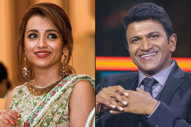 Actor Trisha on the left and Puneeth Rajkumar on the right