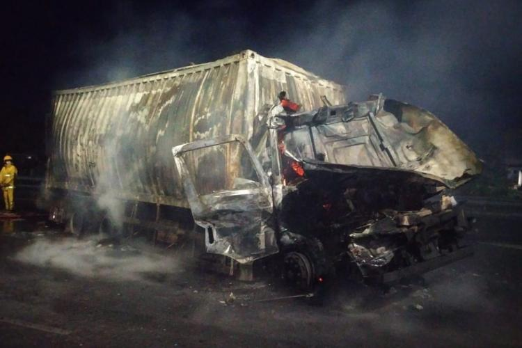 Two persons charred to death as truck catches fire in ORR in Hyderabad