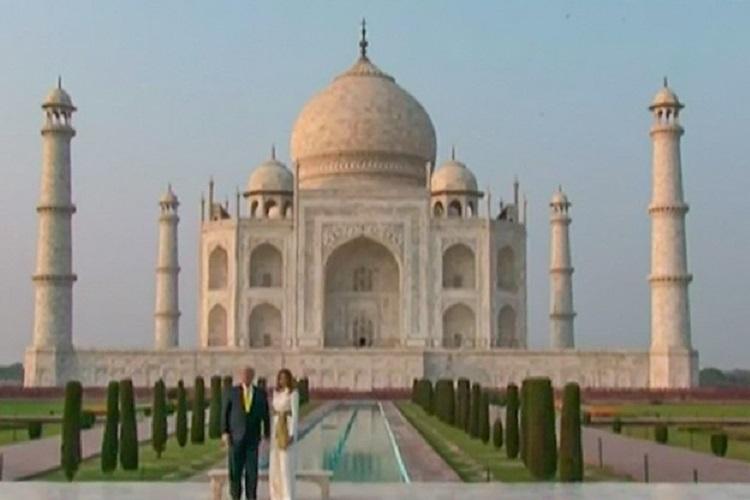 Namaste Trump US President and his family visit Taj Mahal in Agra