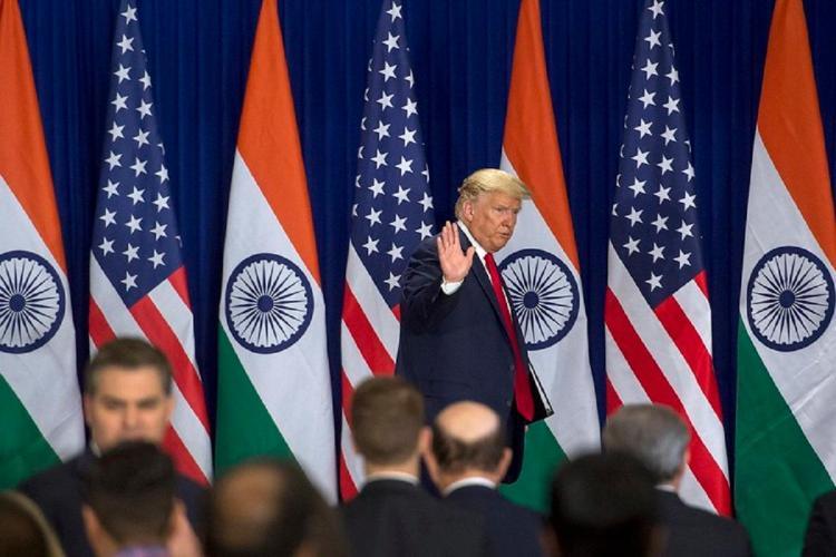 US president at a media briefing in New Delhi in Feb