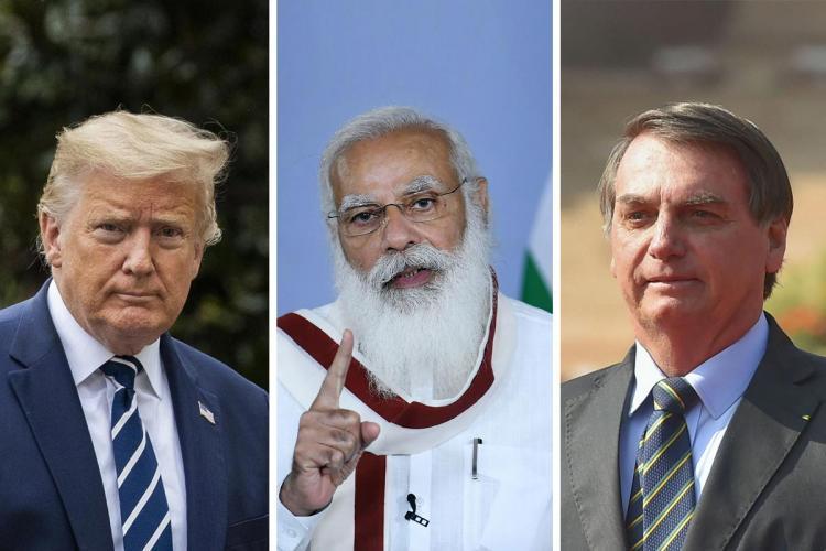 A collage of Narendra Modi Jair Bolsonaro and Donald Trump