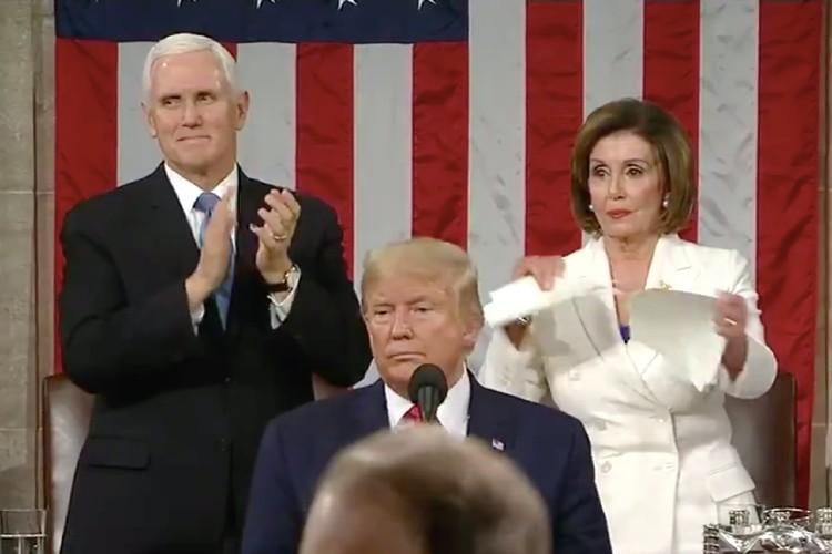Watch Speaker Nancy Pelosi rips copy of Trumps State of the Union speech on stage