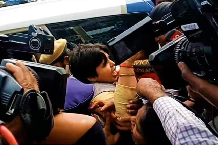 Hyderabad rape case Trupti Desai protests asking why KCR hasnt met vets family