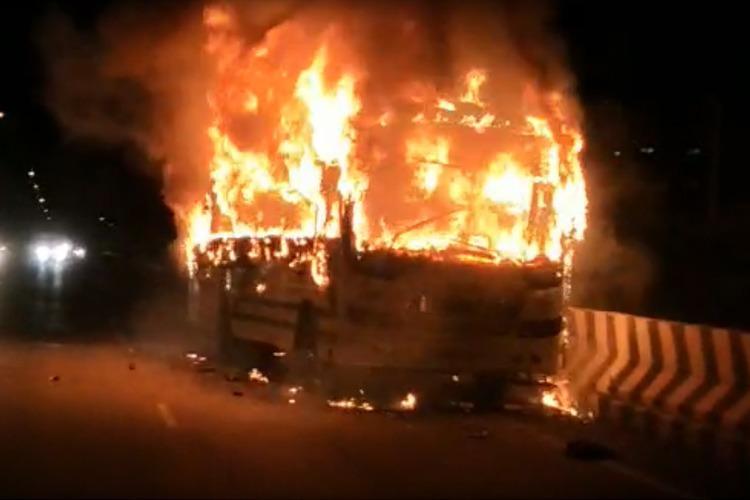 8 injured after bus traveling to Bengaluru catches fire in Tumakuru
