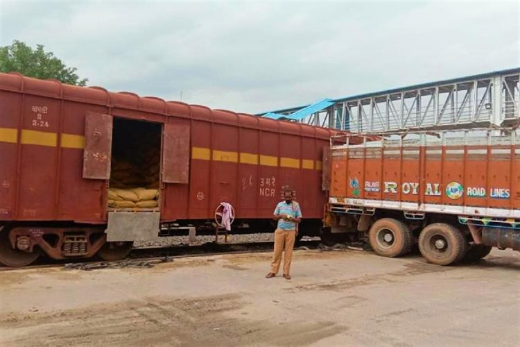 Turmeric being loaded onto a train in Nizamabad in Telangana