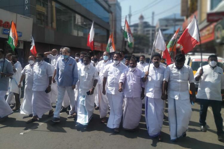 UDF protest march at Kattappana Idukki against ban on constructing buildings other than houses as per the title deed issued under the Kerala Land Assignment Rules 1964