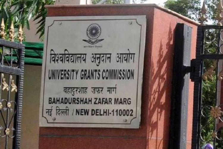 A board outside the University Grants Commission, New Delhi