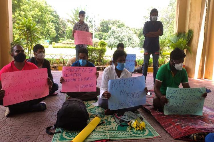 Representatives of HCU students union sit on relay hunger strike against cut off method