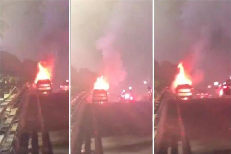 Watch Uber cab goes up in flames in Chennais TTK Road passenger driver unhurt
