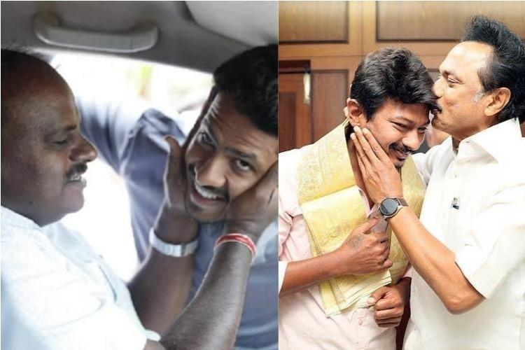 Grandson rise in DMK and JDS Udhayanidhi and Nikhil Kumaraswamy elevated on same day