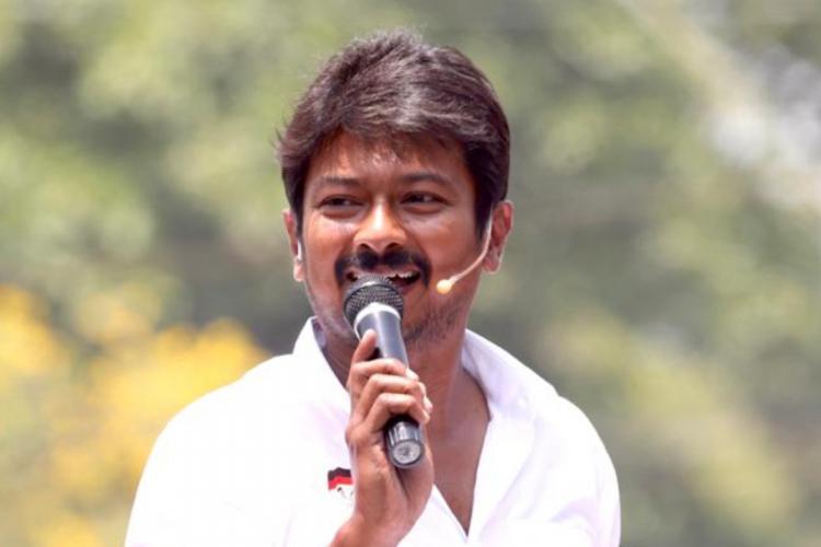 Udhayanidhi Stalin holding mic