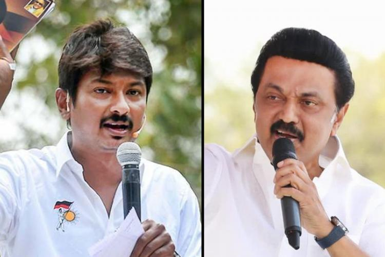 A collage of DMK leaders Udhayanidhi Stalin and MK Stalin speaking at campaign rallies