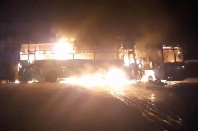 Four charred to death as bus catches fires after hitting lorry in TN