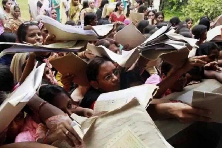 Representative image of youngsters rushing with their files