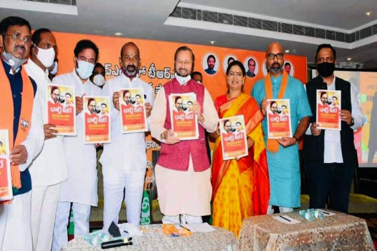 Union Minister for Environment and Climate Change Prakash Javadekar with BJP colleagues