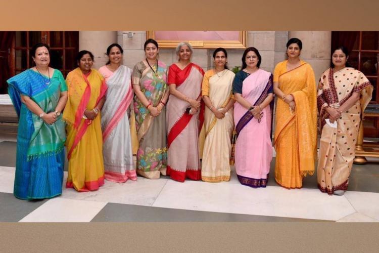 Photo of new women cabinet ministers in the Modi government with senior ministers Nirmala Sitharaman and Smriti Irani