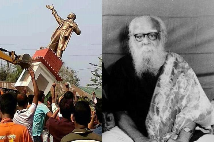 Left-BJP blame game continues, Lenin statue bulldozed in Tripura