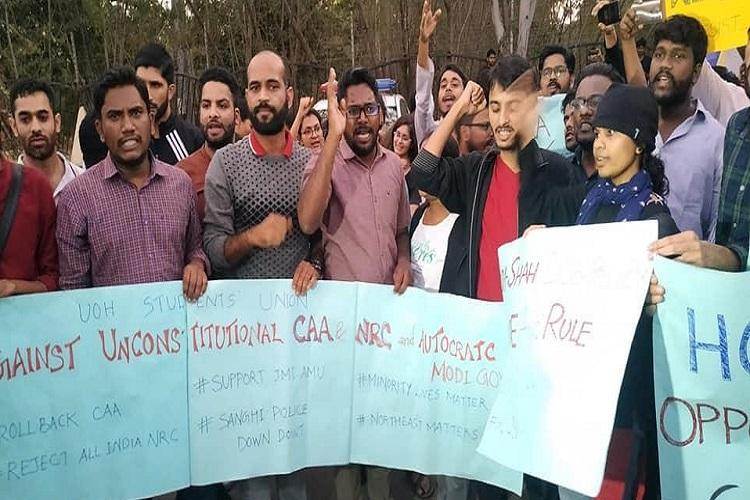Save the Constitution Hyd University students stage protest march against CAA
