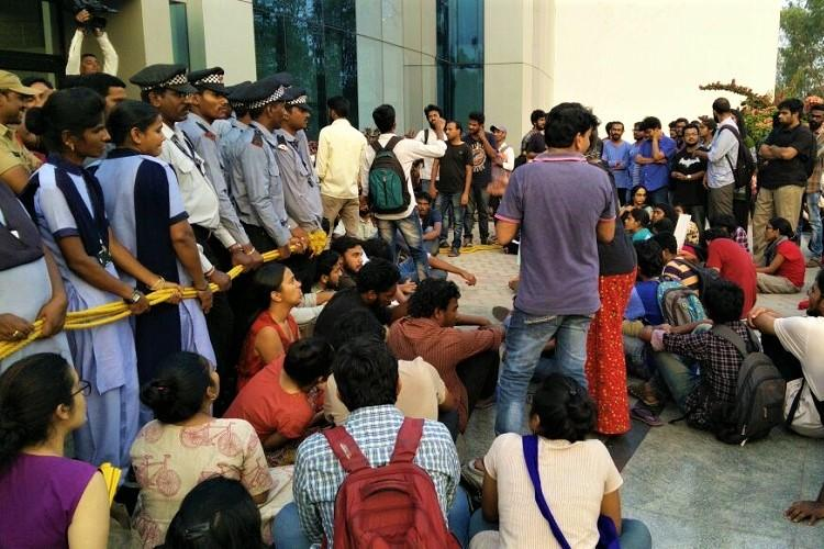 After rape attempt on student protest at Uni of Hyd demanding campus safety