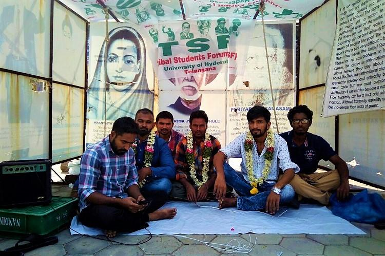 UoH students union result Tribal students reopen Velivada sit on relay hunger strike