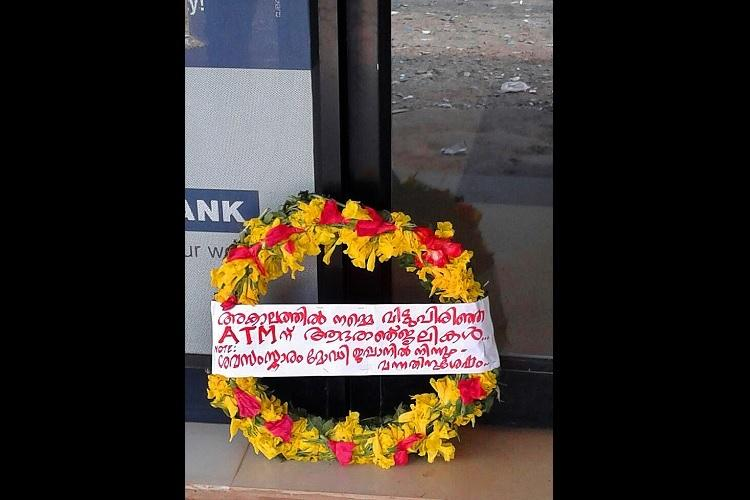 Humour in times of crisis Kerala residents mourn the untimely death of a cashless ATM