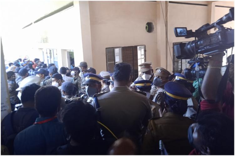 Crowd in front of the court room