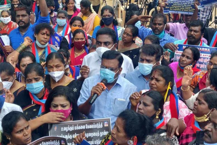 VCK founder Thirumavalavan during a protest seeking ban on Manusmriti