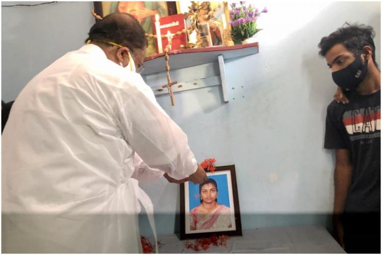 Union minister of State V Muraleedharan at the home of Soumya Santhosh Indian woman killed in Hamas attack in Israel