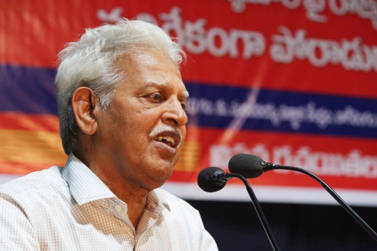Varavara Rao speaking at an event in Hyderabad