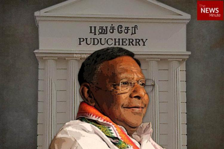 Pucherry Chief Minister V Naryanasamy before the a sign of the Union territory