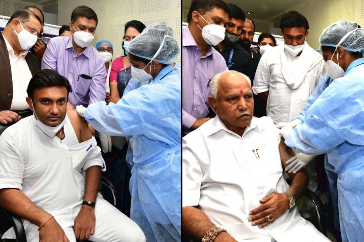 On the left Dr K Sudhakar and on the right CM Yediyurappa taking COVID-19 vaccine