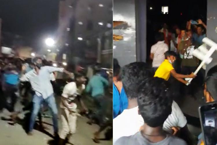 Two screenshots showing self-proclaimed Pawan Kalyan fans going on a rampage and vandalising movie theatres after cancellation of 'Vakeel Saab' shows