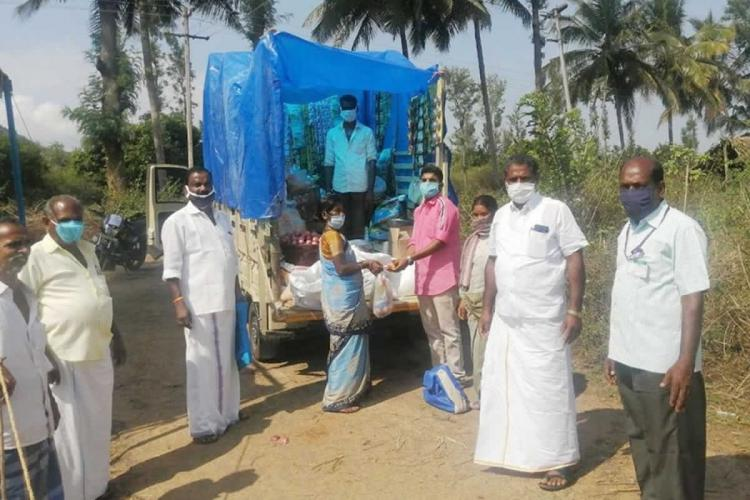 Vegetables and groceries from state government to tribal hamlets in coronavirus containment area in Kalvarayan hills Vadakku Nadu panchayat Salem