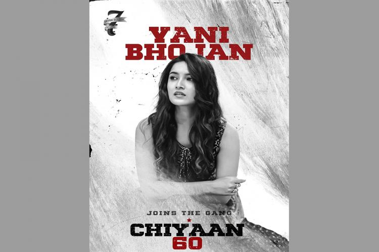 Vani Bhojan is seen in the poster released by the makers of Chiyaan60 to welcome her to the cast