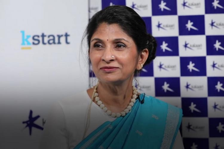 Vani Kola of Kalaari Capital in a blue saree giving an interview during the launch of K start
