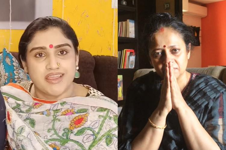 A collage of actor Vanitha Vijaykumar looking angry and actor-director Lakshmy Ramakrishnan with folded hands